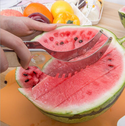 Image of Stainless Steel Watermelon Slicer Cutter Knife Corer Kitchen Gadget