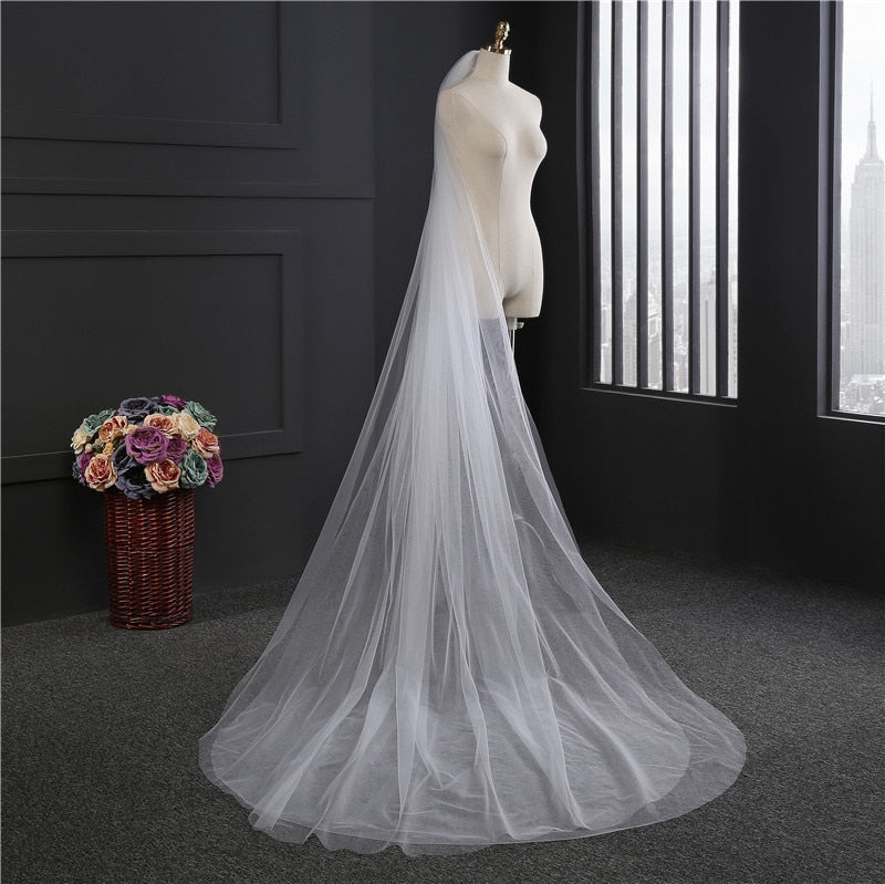 Elegant Wedding Veil 3M With Comb 2 Layers - fobglobal