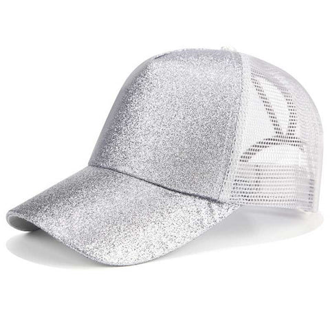 Image of 2018 Glitter Ponytail Baseball Cap Women Snapback Dad Hat Mesh Trucker Caps Messy Bun Summer Hat Female Adjustable Hip Hop Hats - fobglobal