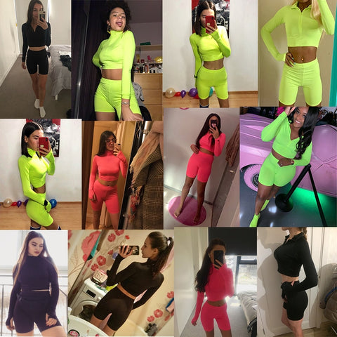 2019 Summer Tracksuits Sets Women Suits Fashion Solid 3-colors Regular Long Sleeve Sexy Club V-neck Women Suit Costume - fobglobal