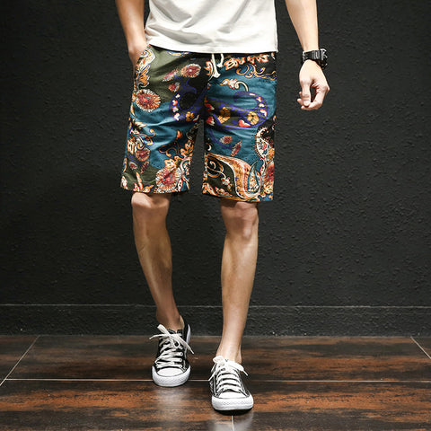 Image of 2019 summer new Hawaiian style flower beach shorts men's cotton linen elastic waist large size casual shorts M-5XL - fobglobal