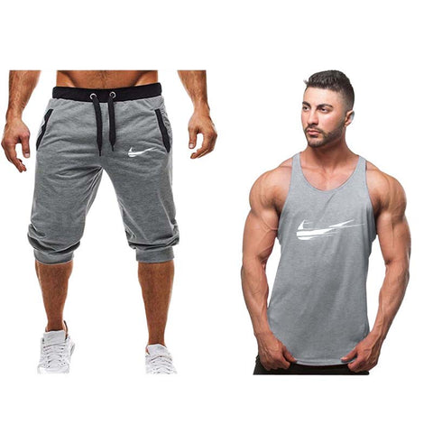 2019Fashion new tracksuit men Two Piece short pant+tank top summer cool Sweatshirts Suit Male chandal hombre jogging homme Suit - fobglobal