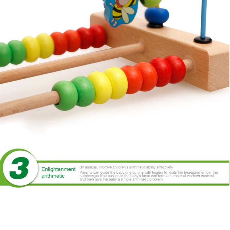 Baby Bead Maze Colourful Wooden Education Developing Interactive Montessori Toy - fobglobal