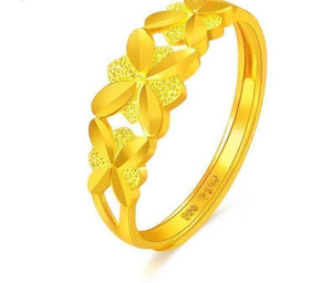 24K Pure Gold Ring Real AU 999 Solid Gold Rings Nice Beautiful  Flowers Upscale Trendy Classic Party Jewelry Hot Sell New 2018 - fobglobal