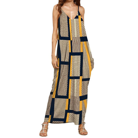 Maternity Print V Neck Sleeveless Long Dress - fobglobal