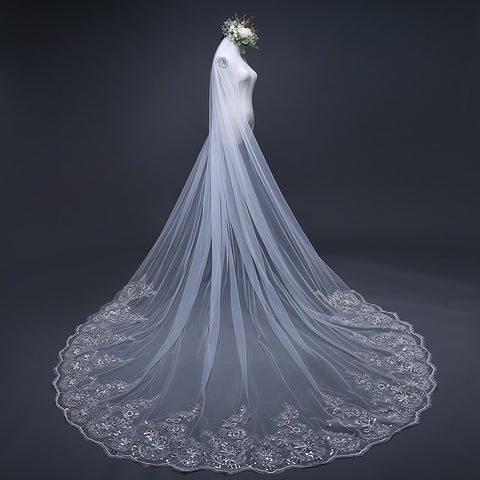 Cathedral Wedding Veil Long Lace Edge with Comb - fobglobal