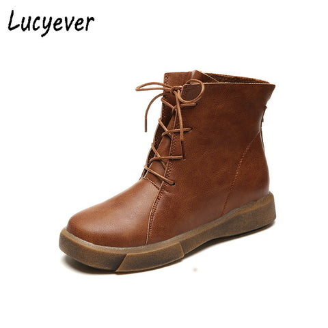 Image of Vintage Women Ankle Boots Lace Up Soft Leather Shoes