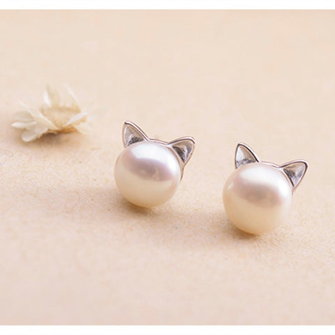 Simulated Pearl Stud Earrings Sweet Cute Cat Ear Design