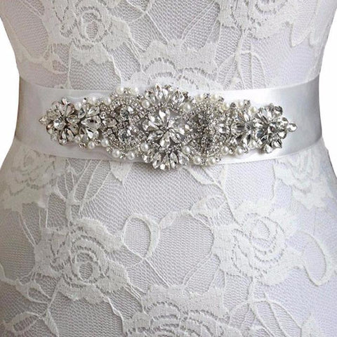 Real Satin Wedding Belt Crystal and Pearls 6cm Wide