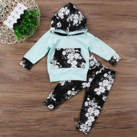 Image of Newborn Infant Baby Set Long Sleeve Hooded Top - fobglobal