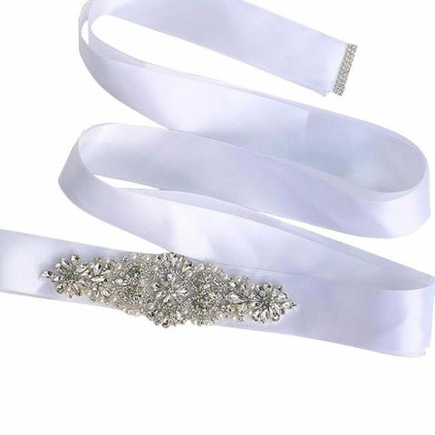 Image of Real Satin Wedding Belt Crystal and Pearls 6cm Wide