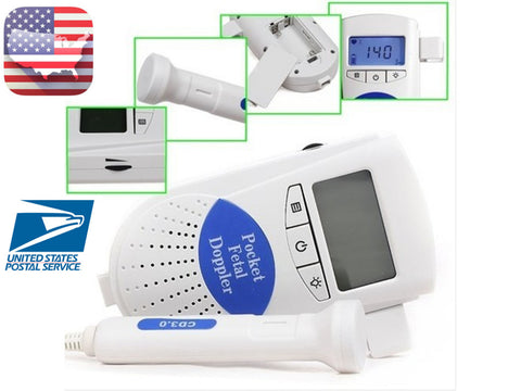 Pocket Fetal Doppler LCD Baby Monitor+ Free Gel+ Battery