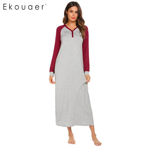 Long Night Dress Chemise Nightgown Sleepwear Long Sleeve V Neck Plus Size - fobglobal