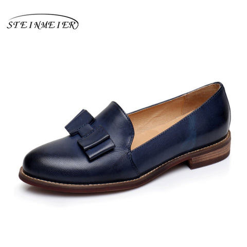 Image of Genuine Sheepskin Leather Flats Vintage Oxford Ladies Shoes - fobglobal