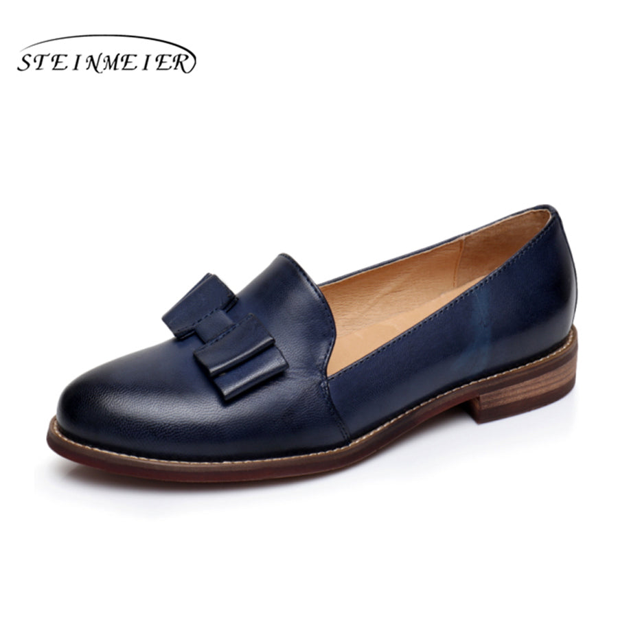 Genuine Sheepskin Leather Flats Vintage Oxford Ladies Shoes - fobglobal