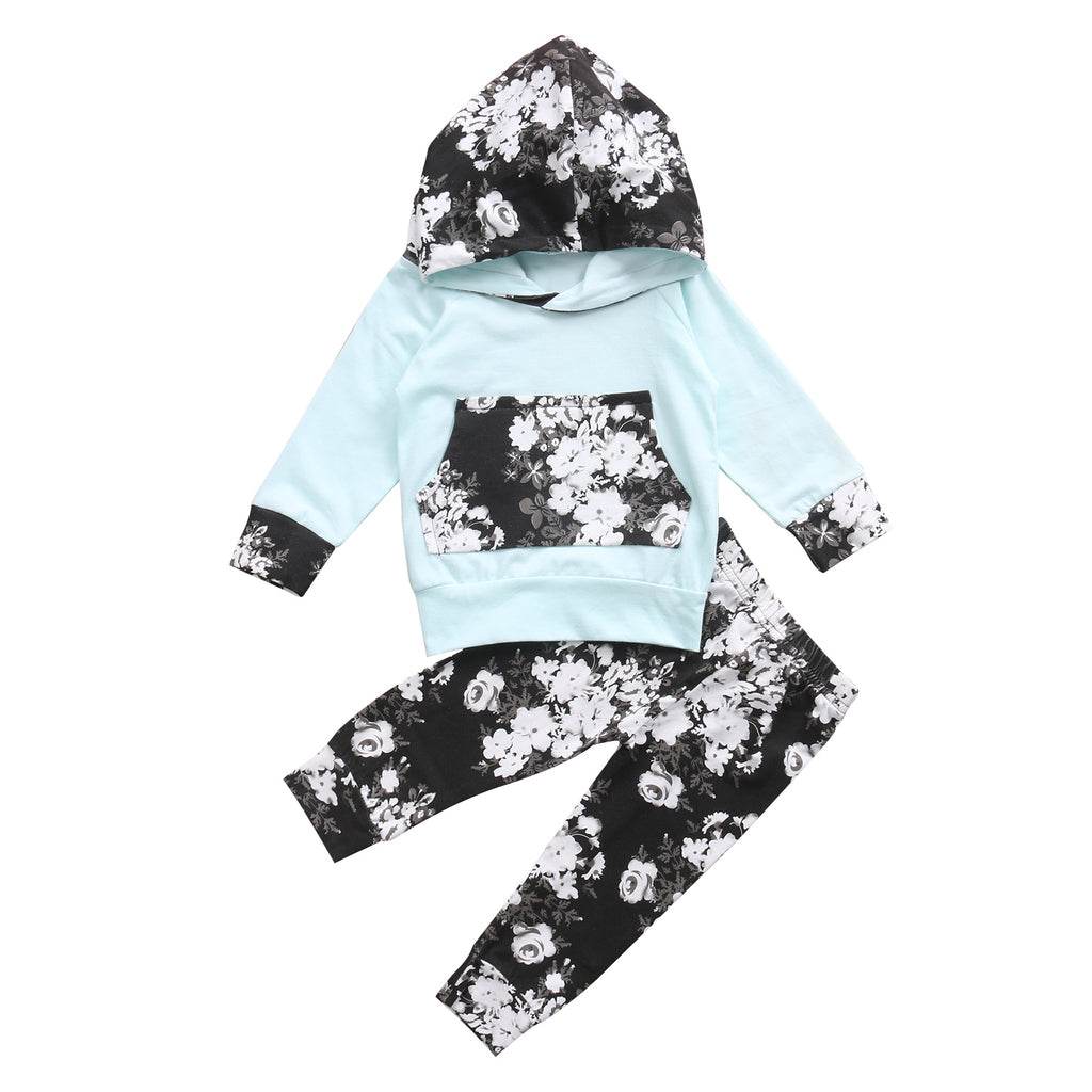 Newborn Infant Baby Set Long Sleeve Hooded Top - fobglobal