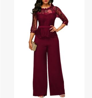 Sexy Women Casual Lace Top and Pants Nightclub Party Jumpsuit