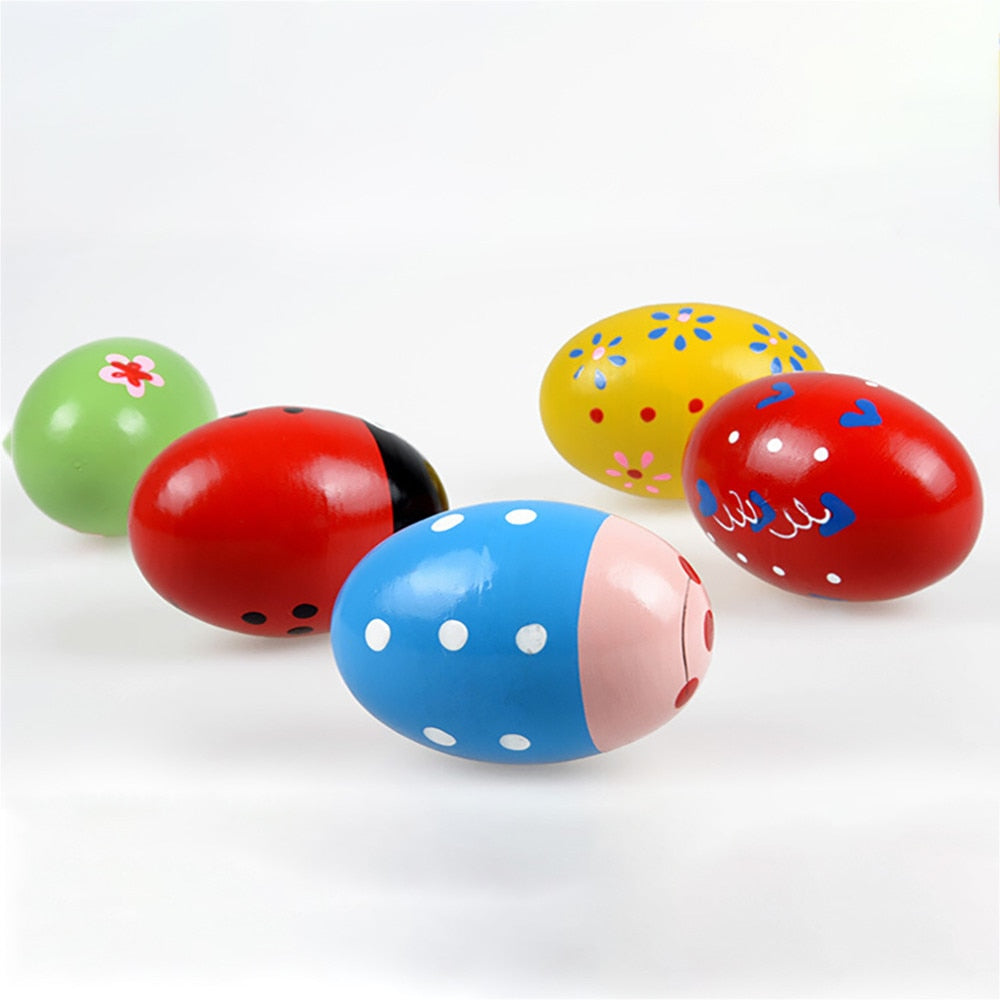 Kids Music Toy Wooden Sand Egg Maracas - fobglobal