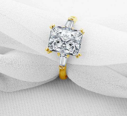 AINUOSHI 10k Pure Yellow Gold Ring 3 Carat Big Brilliant Rectangle Cut Wedding Ring Sona Diamond Anillos Fine Jewelry Women Ring - fobglobal