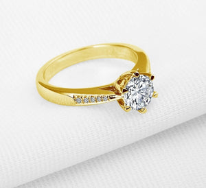 Classic 10K Pure Yellow Gold Engagement Ring