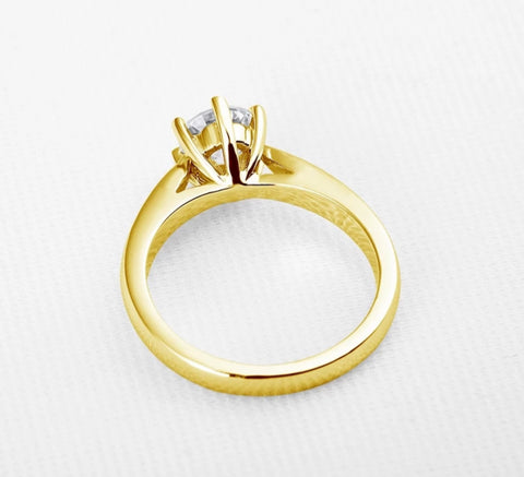 AINUOSHI Classic 10K Real Pure Yellow Gold Engagement Rings Six Claws Simulated Diamond Bague Authentic 10k Fine Jewelry Ring - fobglobal
