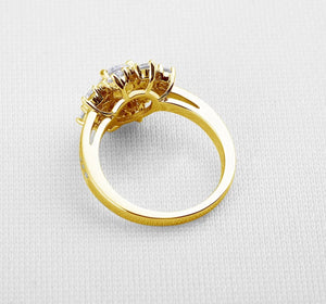 Luxury Flower Yellow Gold Pure 10k Solid Gold Women Wedding Halo Ring