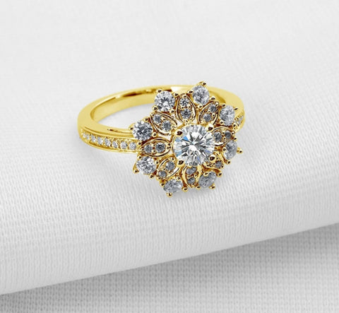 AINUOSHI Luxury Flower Yellow Gold Ring Pure 10k Solid Gold Women Wedding Halo Ring Simulated Diamond Jewelry Gift Band Rings - fobglobal