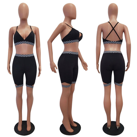 Adogirl Women Two Piece Set Outfit Checkerboard Plaid Race Suit Bra Top and Shorts Female Tracksuit Summer Club Suits Sportswear - fobglobal