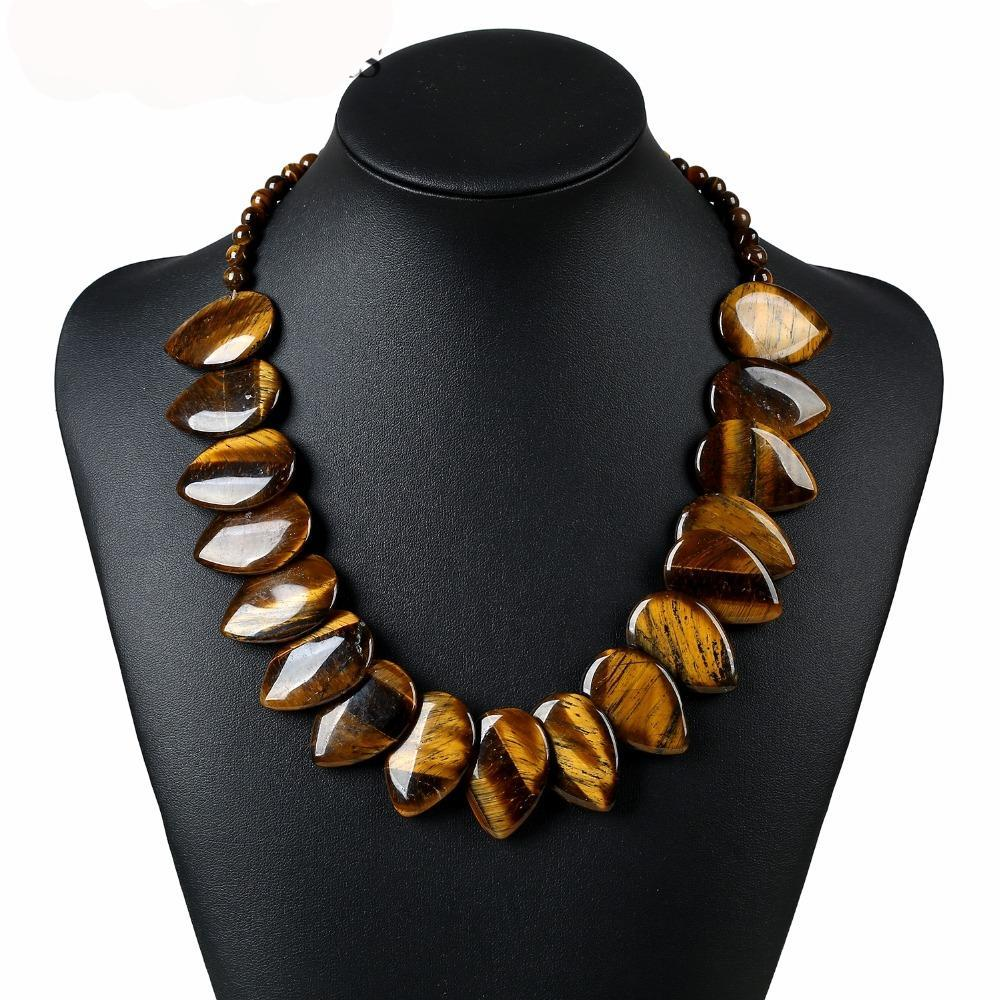 Statement Choker Handmade Beaded Water Drop Natural Tiger Eye Necklace