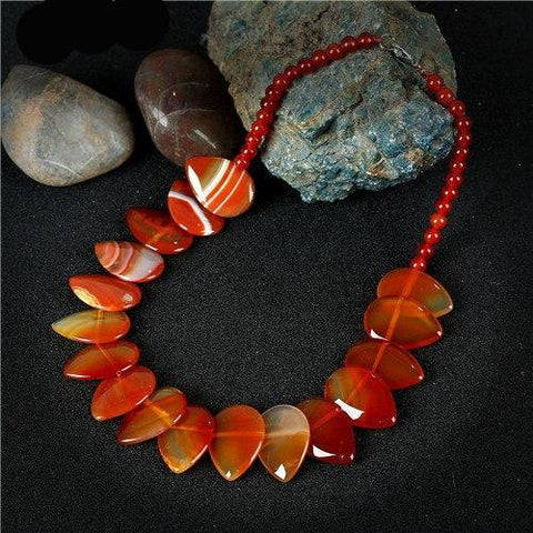 Image of Statement Choker Handmade Beaded Water Drop Natural Tiger Eye Necklace