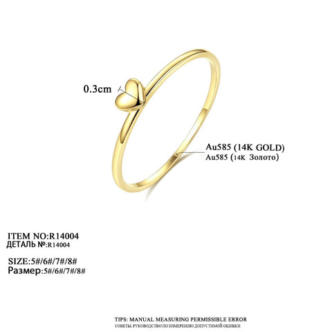 CZCITY Classic Pure 14K Gold Heart Wedding Rings for Women Thin Round Romantic Female Rings Yellow Gold Jewelry Carving Au585 - fobglobal