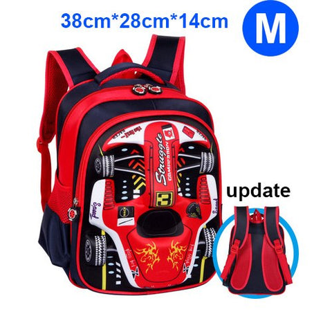 Image of 3D Racing Car Kindergarten Nursery School Student Backpack - fobglobal