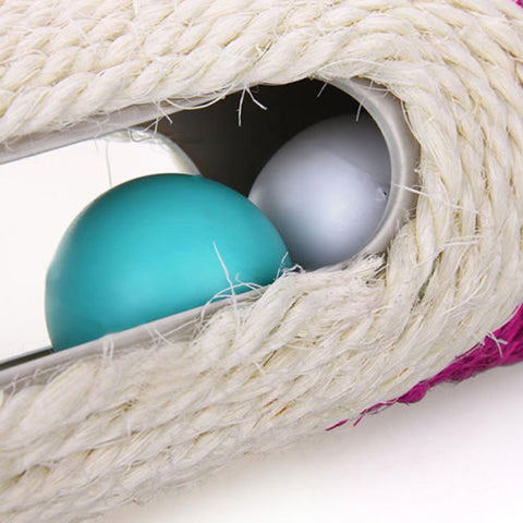 Image of Cat Toy Sisal Scratching Post with Trapped Ball - fobglobal