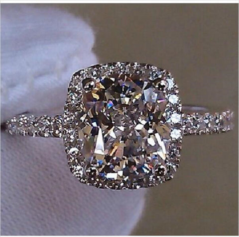 S925 Silver Diamonique White CZ Crystal Stone Wedding Ring Designer-inspired