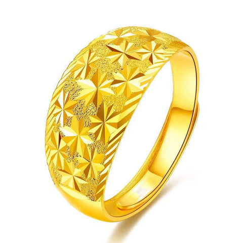 Fine Jewelry Starry Sky Rings Real 999 Pure Gold Opening Adjustable Rings Fashion Accessories 2018 New Men Women Jewellery Rings - fobglobal