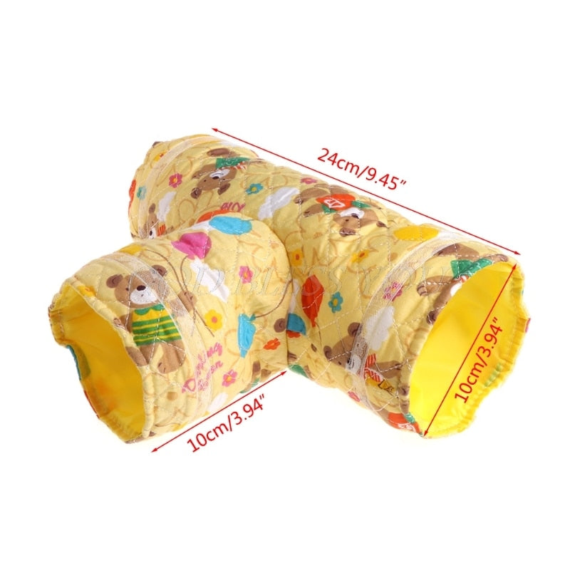 Hamster Toy Tunnel Small Pet Cartoon 3 Way Pet Tubes Bed Nest For Rabbits Ferrets Guinea Pigs - fobglobal