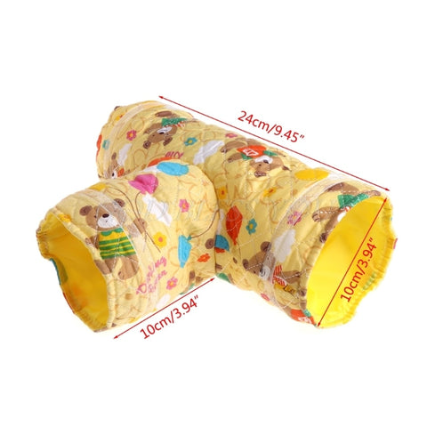 Image of Hamster Toy Tunnel Small Pet Cartoon 3 Way Pet Tubes Bed Nest For Rabbits Ferrets Guinea Pigs - fobglobal