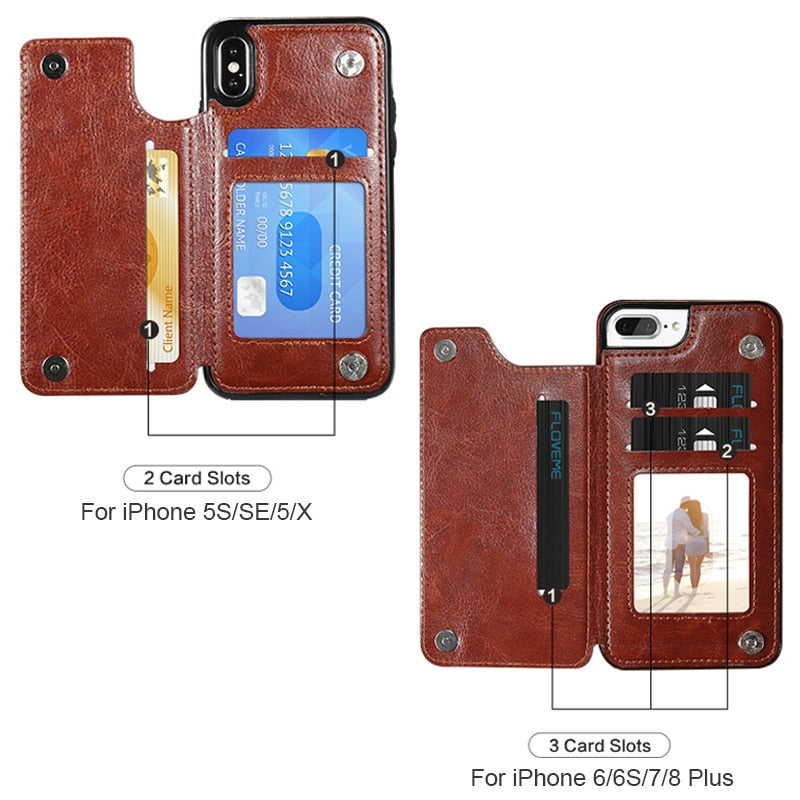 Retro PU Leather Case For iPhone