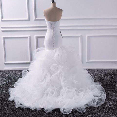 Image of Mermaid Sweetheart Wedding Sheer Lace Up Bride Tulle Ruffles Bridal Gown - fobglobal