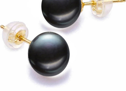 18K Gold Pearl Earrings Natural Freshwater Pure Au750 Yellow Gold Stud Earrings