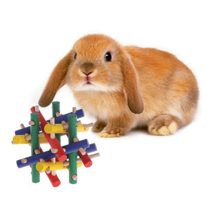 Coloruful Wood Safety Knot Nibbler Chew Toy for Rabbits - fobglobal