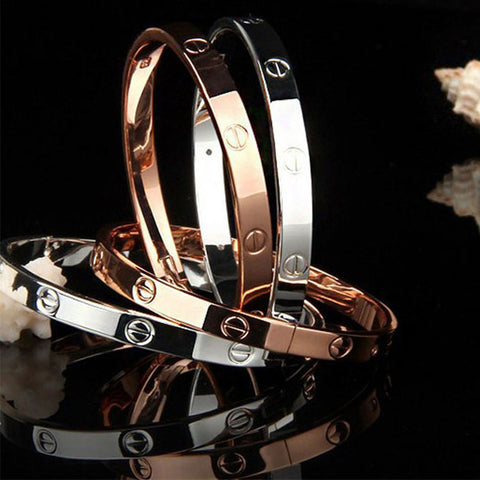 Image of Trendy Titanium Crystal Rose Gold Silver Bangle Bracelet