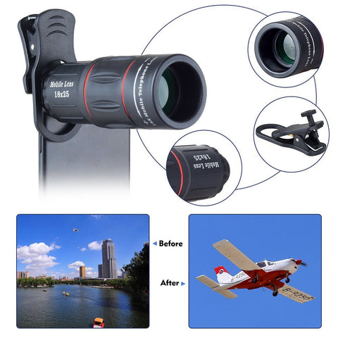 Universal 18X Telescope Optical Zoom Mobile Phone Lens for iPhone Samsung XIAOMI Smartphones clip Telefon Camera Lens