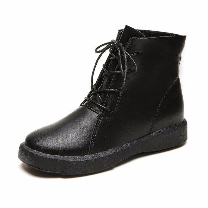Vintage Women Ankle Boots Lace Up Soft Leather Shoes