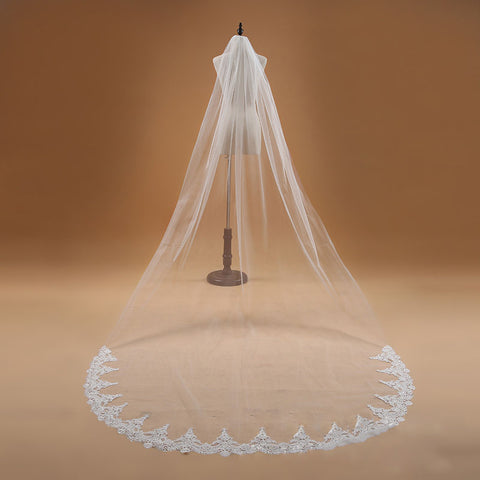 Image of One Layer Lace Edge Cathedral Wedding Veil Long Bridal Veil - fobglobal