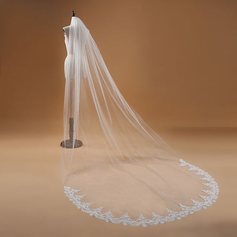 One Layer Lace Edge Cathedral Wedding Veil Long Bridal Veil - fobglobal