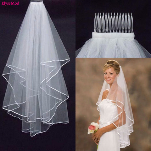 Wedding Simple Tulle White Ivory Two Layers Bridal Veil Ribbon Edge With Comb