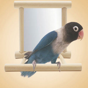 Wooden Pet Toy Mirror Toy For Cockatiel Parrots Small Birds