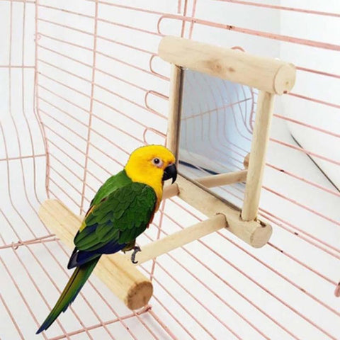 Image of Wooden Pet Toy Mirror Toy For Cockatiel Parrots Small Birds