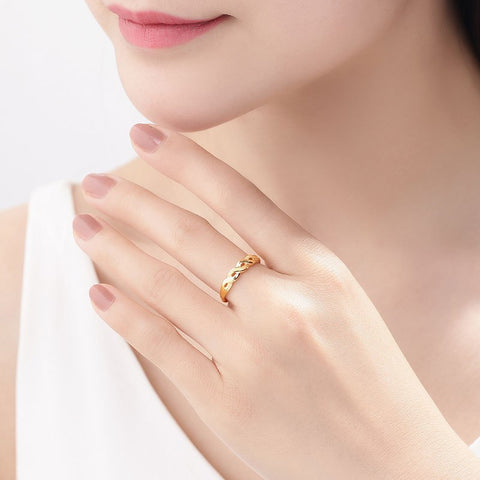 24K Gold Ring Fine Jewelry Real Pure Au999 with Resizable